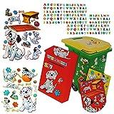 214 tlg. Set Aufkleber für Mülltonne + Briefkasten - Disney 101 Dalmatiner Hund - Wasserfest Sticker - für Innen & Außen - Wetterfest - Hunde Welpen