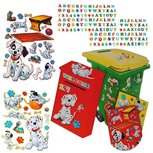 214 tlg. Set Aufkleber für Mülltonne + Briefkasten - Disney 101 Dalmatiner Hund - Wasserfest Sticker - für Innen & Außen - Wetterfest - Hunde Welpen (Hund Abfall-entsorgung Haustier)