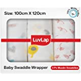 LuvLap 100% Cotton Muslin Baby Swaddles set, Birds White Print, 0-18 Month+, Pack of 3