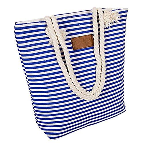 Borsetta Tracolla Donna - Feelme Borsa a Spalla con Righe Spiaggia Shopper Stoffa Tote Tela Blu 01