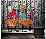 Apoart 3D Papier Peint Peinture Murale Originale Sur Fond Graffiti Nostalgique Rétro450X300Cm(177.16By118.11In)