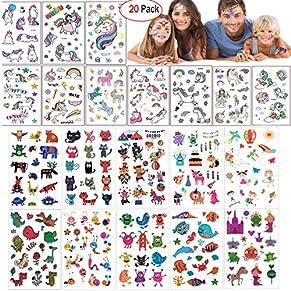 Mattelsen Tatuajes Temporales Niños Niñas Animales Unicornio 20 Hojas Tatuaje Falso Pegatinas Dibujos Animados para Infantiles de Cumpleaños Regalo