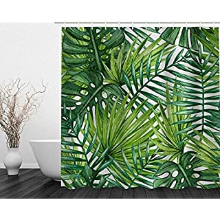 Alicemall Banana Leaves Printed Shower Curtain Waterproof Polyester Shower Curtain with Curtain Ring for Bathroom Anti Mildew Fabric 71 x 71 inches (Banana leaves)