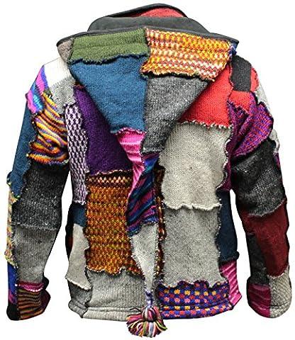 Shopoholic FashionMen's Tye Dye Patchwork Hippie Jacket Fleece Lined Festival Boho Hippy Sweater (2XL)
