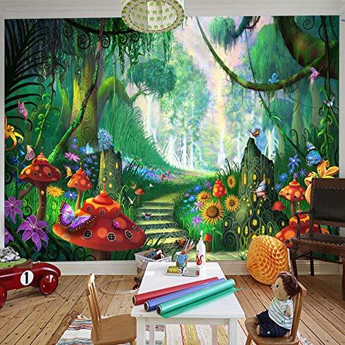 Wandbilder Fototapete 3D Cartoon Märchenwald Pilzweg Wandmalerei Kinder Kinder Schlafzimmer Umweltfreundliche Fotowand Tapete Wand Dekoration 400 * 280Cm