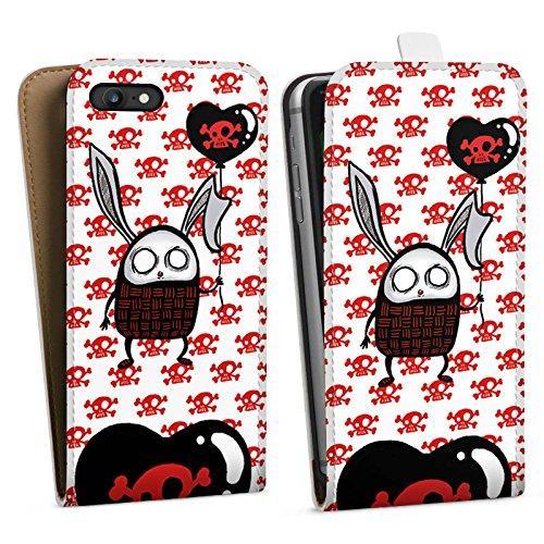 Apple iPhone X Silikon Hülle Case Schutzhülle Hase Herz Bunny Downflip Tasche weiß
