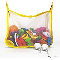 Bath Toy Organiser - Large Mesh Bath Toy Net with 2 Flip Down Suction Cups Designed For Smooth Surfaces Keep Your Kid's Toys Secure and Organized During and After The Child's Bath Time