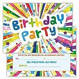 12 Lustige Einladungskarten im Set für Kindergeburtstag Birthday Party für Jungen Mädchen Kinder Top Geburtstagseinladungen Karten witzig