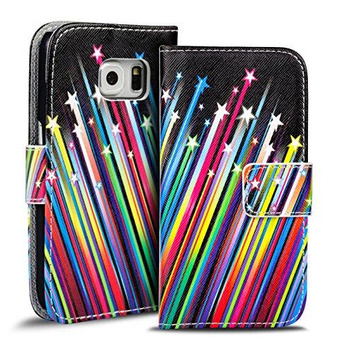 Verco Handyhülle Galaxy S6 Edge Muster, Motiv Hülle für Samsung Galaxy S6 Edge Book Case Flip Cover - Design 9