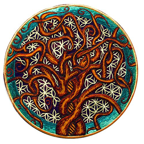 Preisvergleich Produktbild ImZauberwald Baum des Lebens & Blume des Lebens Aufnäher - heilige Geometrie(20cm, Schwarzlicht aktiv) ein handgestickter Lebensbaum Patch