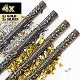 4 x XXL Konfetti-Shooter GOLD & SILBER 80 cm - Party Popper Konfettikanone Konfettishooter Streamer - für Silvester, Hochzeit, Party, Geburtstag & Co. - PARTYMARTY GMBH®