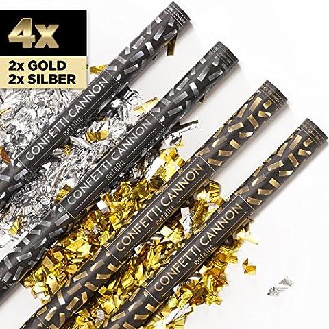 4 x XXL Konfetti-Shooter GOLD & SILBER 80 cm -