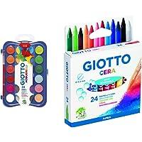 Giotto Acquerelli In 24 Colori, Pastigle Da 30Mm, Con Pennello & 282200 Pastelli A Cera In Astuccio Da 24 Colori