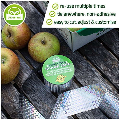 De-Bird Bird Repellent Scare Tape – Deterrent Ribbon Stops Damage and Deters Pests – Silver Diamond Pattern – 125 Ft/38.1M