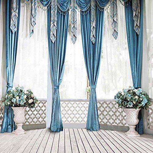 Vinyl Tuch nahtlos Hintergründe für Foto Studio Hochzeit Innen Balkon blau Vorhänge Vasen mit Blumen Hohl Zaun Fenster Photography Hintergrund Holz Boden