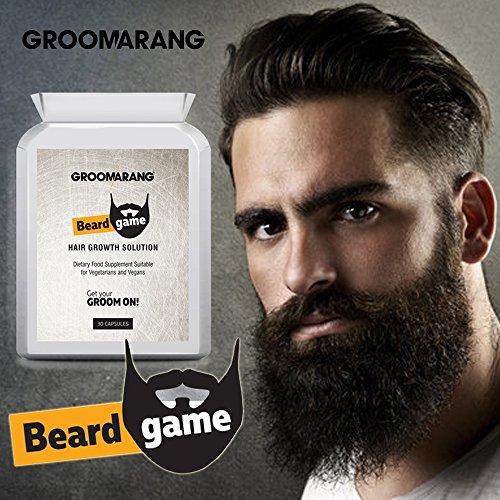 Groomarang soluzione per la crescita della barba, naturale ed extra forte, con vitamine E e A, Biotina, L-lisina e B12, integratore in compresse