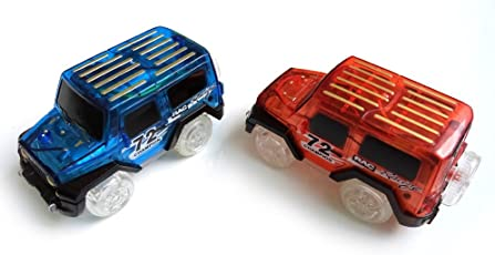 Leoie 2Pcs Mini LED Electric Car Toy for Magic Tracks Glow in The Dark Amazing Racetrack Race Car (Not Include Tracks) for Kids Gift
