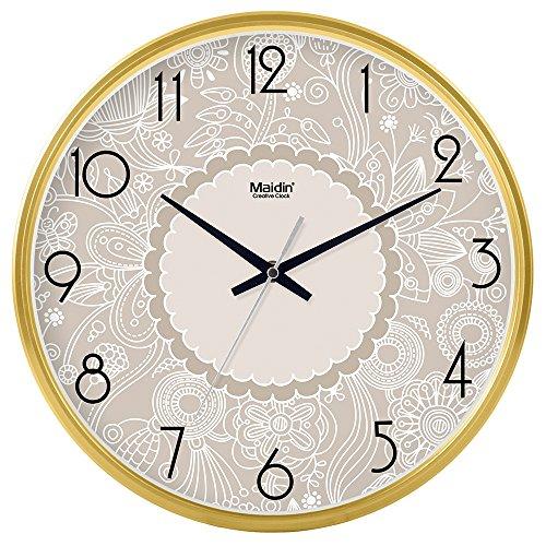 Komo classico ed elegante il quarzo orologio da parete grande silenzioso sweepso sweep intorno orologio da parete soggiorno camera da letto tavolo a muro orologio al quarzo, 12 pollici, oro di base