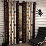 Home Sizzler Floral 4 Piece Eyelet Polyester Window Curtain Set - 5ft, Brown