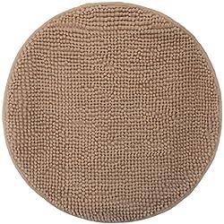 Tapis de Salle de Bain en Chenille - Différents Tailles et Couleurs, Polyester, Sable, Diamètre 50 cm