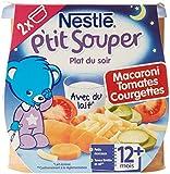 Nestlé Bébé P'tit Souper Macaroni Tomates Courgettes dès 12 Mois 2 x 200 g