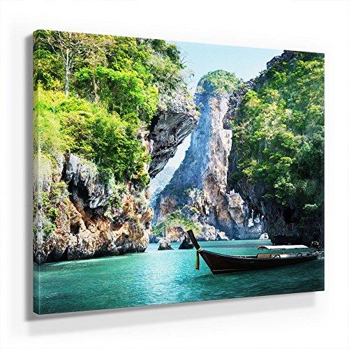 Thailand Bild C280, 1 Teil 80x80cm Leinwand auf Holzrahmen aufgespannt, FineArt Print, UV-Stabil und Wasserfest, Kunstdruck für Büro Oder Wohnzimmer, Deko Bild
