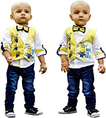 Dotson Kids Combo of Party Wear White Linen Shirt & Blue Washed Denim Jeans with Digital Printed Minion Yellow Jacket and Polka Dots Bow for Boys (09-18 Montths)