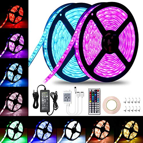 LED Streifen, VOYOMO LED Strips 10m RGB-Licht 5050 300 LEDs mit Fernbedienung, 12V DC-Netzteil für Decke Bar Counter Cabinet Beleuchtung Dekoration