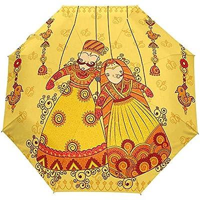 Vintage Lotus Wedding Auto Open Cerrar Sun Rain Paraguas