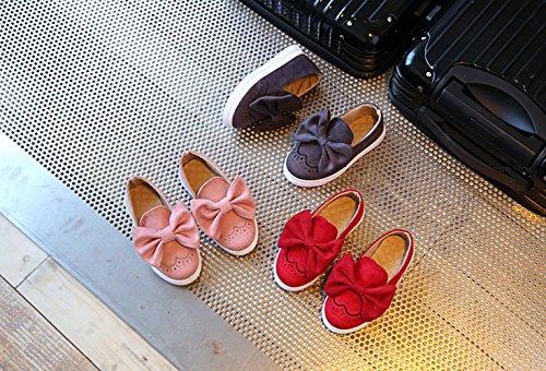 Gaorui Prinzessin Mädchen Ballerinas Slipper mit Bowknot Halbschuhe Mary Jane Hochzeit Schuhe rosa rot Rosa