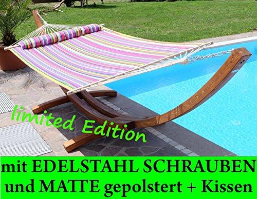 410cm XXL Luxus Hängemattengestell aus Holz Lärche mit Hängematte LIMITED EDITION (EDELSTAHL - GEPOLSTERT - GEÖLT) mit Stabhängematte von AS-S