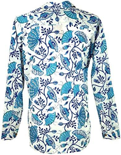 Guru-Shop Goa Hippie Hemd, Herrenhemd, Baumwolle, Männerhemden Alternative Bekleidung Blau