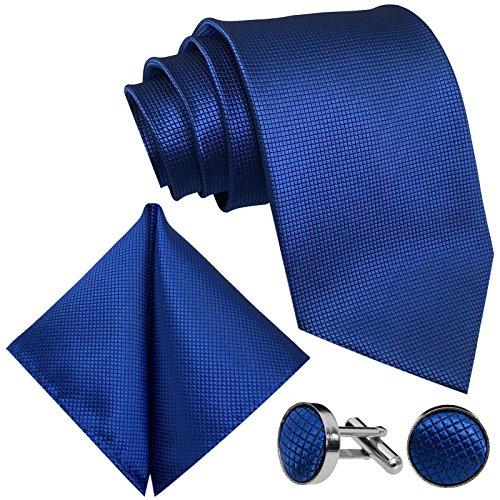 GASSANI 10cm Breite Herrenkrawatte Krawattenset Royal-Blaue Karo-Muster, Schmale Skinny Hochzeitskrawatte Herrenschlips Einstecktuch Manschettenknöpfe