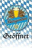 Biergarten Geöffnet, oktoberfest, bayern, weizen, blechschild, bar accessoires