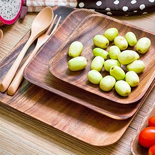 K&C 10 Zoll Quadratische Platten Holz Quadrat Serviertablett Dessert Kuchen Obst Tablett (Platz Geburtstag-platten)