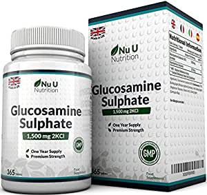 Glucosamina Fosfato 1500 mg 2KCl, 365 Compresse (Scorta Per 1 Anno)   Alto Dosaggio   Prodotto nel Regno Unito da Nu U Nutrition