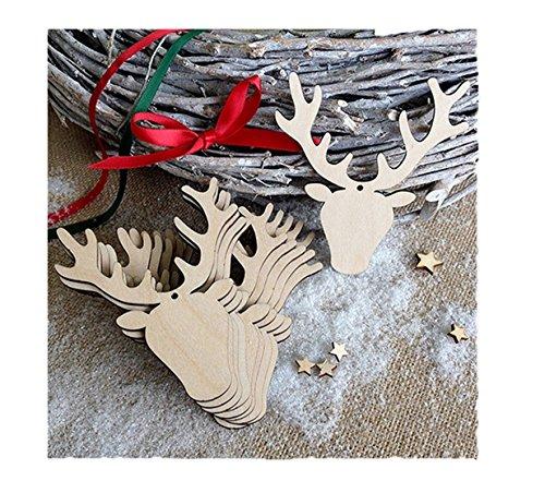 chtsdekoration Holz Ornamente Weihnachten hängen Anhänger Dekoration Geschenke für Weihnachtsbaum, Fenster, Wand, Zimmer (Hirschkopf) ()