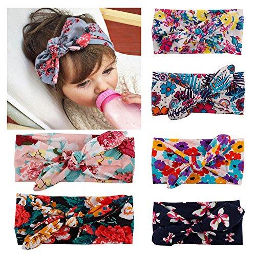 ruiooy 6er Pack assorted-color Baby Mädchen Kleinkind Kids Bunny Kaninchen Schleife Knoten Turban Stirnband Haarband Headwrap mit Kopfbedeckungen für die Fotografie Requisiten, Kostüm, (Turban Kostüme)
