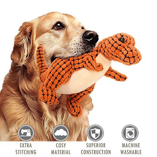 ubest Hundespielzeug aus Plüsch, Dinosaurier Plüsch-Stoffspielzeug, Monster Quietschspielzeug für Hunde, Orange