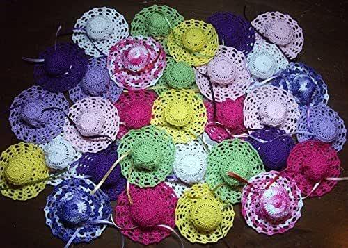 Crociedelizie, Stock 40 bomboniere cappellini ad uncinetto da usare come sacchetti portaconfetti bimbo bimba nascita battesimo segnaposto matrimonio