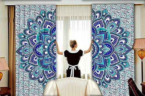 Sophia Art Beautiful Flower Ombre Mandala Tapisserie Vorhänge, Boho Vorhänge, Drapes, Mandala, indische Vorhänge Mandala Wandbehang Fenster Behandlung Door Hanging - Hanging Vorhang Rod
