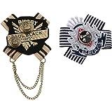 2 Unids Estilo Marino Broche Broche Británico Ramillete Bufanda Clip Medalla Insignia para Mujeres Hombres Banquete De Boda C