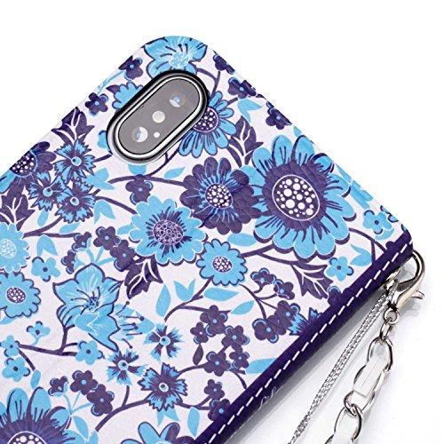 Custodia Iphone X, Custodia X Ultra Slim Per Iphone, Btduck Moda Vintage Donna Fiore Fiore Catena Borsa Tracolla Borsa Design Portafoglio Custodia Custodia In Pelle Custodia Protettiva Per Iphone X Custodia Per Telefono Mi Iphone X - Fiore # 6
