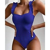 LJLLINGA Nuovo Costume da Bagno Intero Sexy da Donna Costumi da Bagno in Legno con Volant sull'Orlo Costumi da Bagno…