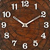 B SQUARE 14 Inches Handcrafted Wooden Wall Clock With Sweep (Silent) Movement BSWC038