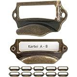 FUXXER® - 10 x etikettenvensters, metalen handgrepen in messing antieke look, sleuven voor apothekerskasten, indexdoos, laden