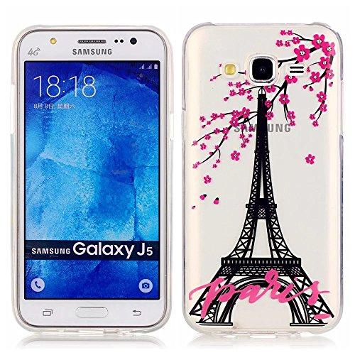 Samsung Galaxy J5(2015) Custodia,KSHOP TPU Custodia conchiglia Caso Case Cover in silicone morbido Flessibile TPU modelli colorati - Torre Eiffel