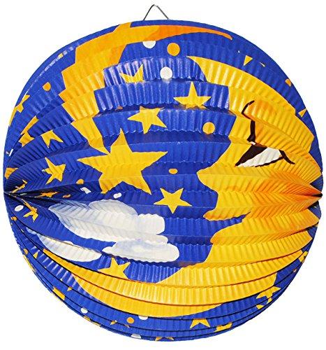 Unbekannt Laterne / Lampion - RUND -  Mond & Sterne  - aus Papier - für Kinder Papierlaterne - Laternen Lampions - Figuren - für Laternenumzug - Mädchen Jungen - Himm..