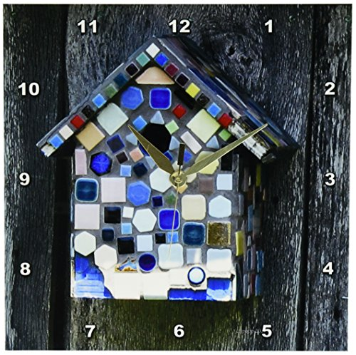 3dRose dpp_24984_1 Bird House Mosaic Wall Clock, 10 by 10""