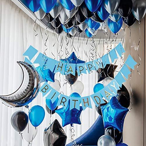 PuTwo Luftballons Blau, 55 Stück Satz von Luftballons Schwarz Luftballons Blau Ballons Silber, Latexballons Folienballon für Party Deko Schwarz, Dekoration Silber, Deko Taufe, Dekoration Geburtstag (Schwarz Und Silber 60. Geburtstag Dekorationen)